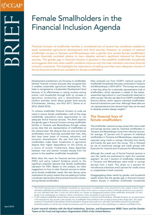 CGAP_Brief Female Smallholders In The Financial Inclusion Agenda Cover
