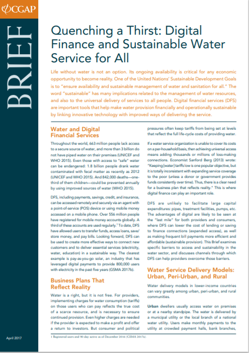 CGAP_Brief Quenching A Thirst Digital Finance And Sustainable Services For All Cover