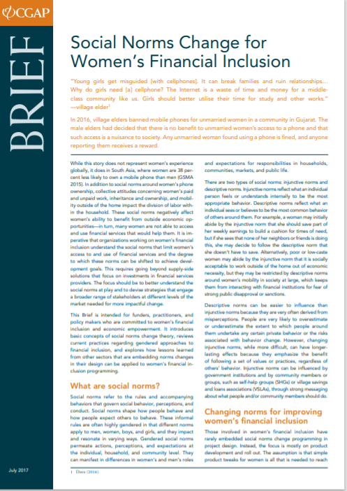CGAP_Brief Social Norms Change for Womens Financial Inclusion Cover