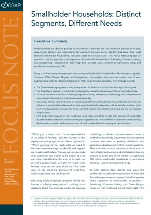 CGAP_Focus Note Smallholder Households-Distinct Segments Different Needs Cover