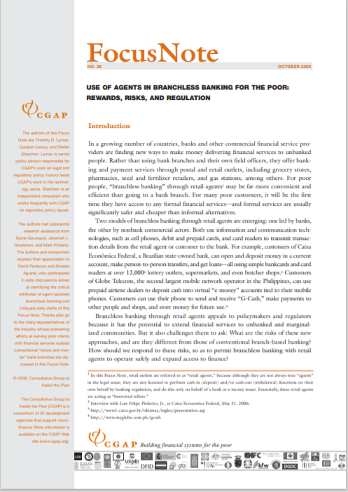 CGAP_Focus Notes Use Of Agents In Branchless Banking For The Poor Rewards Risks And Regulation Cover
