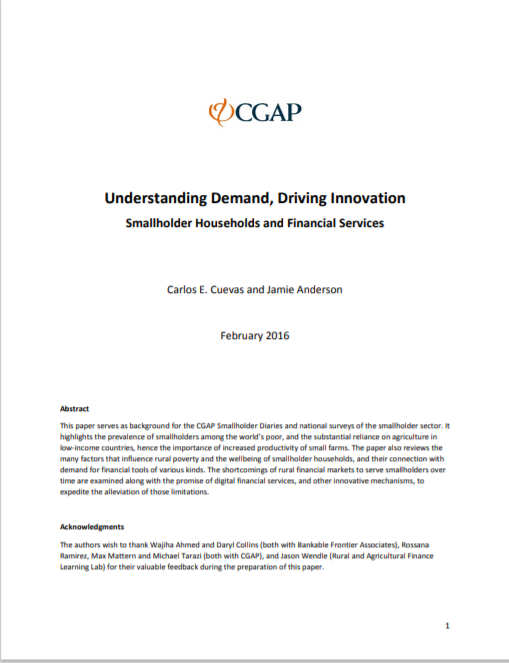 CGAP_Understanding Demand Driving Innovation Smallholder Households and Financial Services Cover