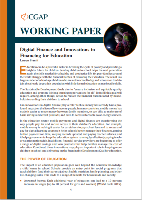 CGAP_Working Paper Digital Finance And Innovations In Financing For Education Cover