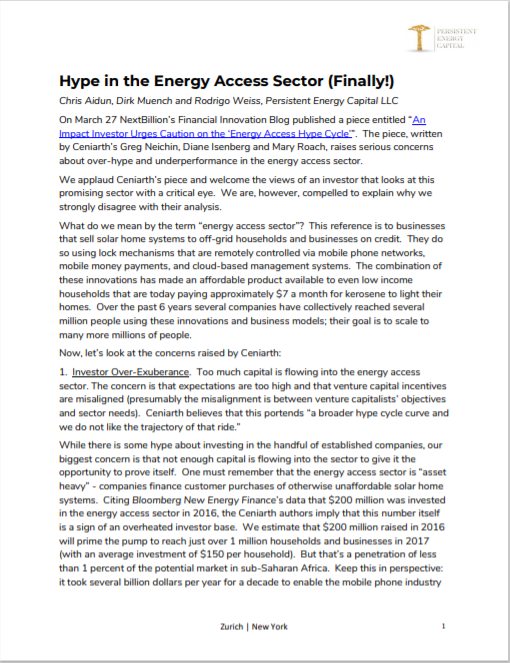 PE_Hype in the Energy Access Sector Cover
