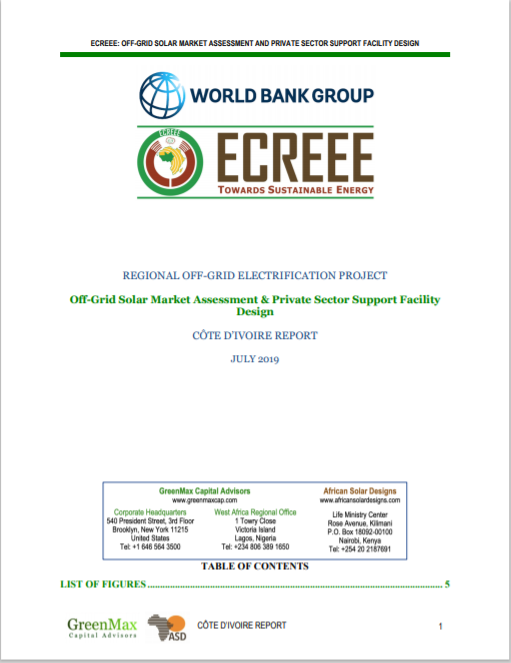 ECREEE_Cote DIvoire Off-Grid Solar Market Assessment & Private sector Support Design Cover