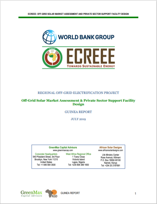 ECREEE_Guinea Off-Grid Solar Market Assessment & Private sector Support Design Cover