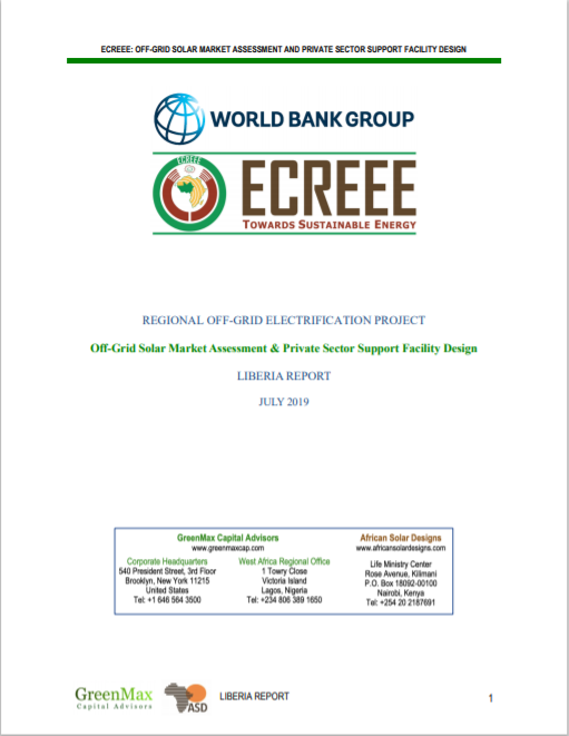 ECREEE_Liberia Off-Grid Solar Market Assessment & Private sector Support Design Cover
