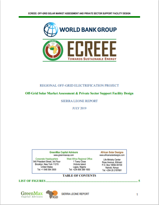 ECREEE_Sierra Leone Off-Grid Solar Market Assessment & Private sector Support Design Cover