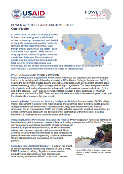 POWER AFRICA_Cote D'Ivoire Solar Fact Sheet Cover