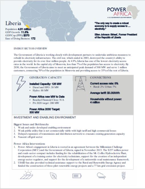POWER AFRICA_Liberia Solar Fact Sheet Cover
