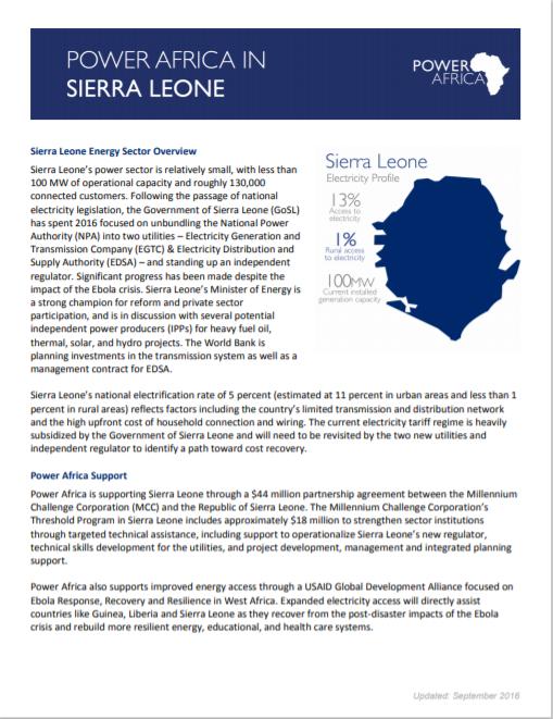 POWER AFRICA_Sierra Leone Solar Fact Sheet Cover