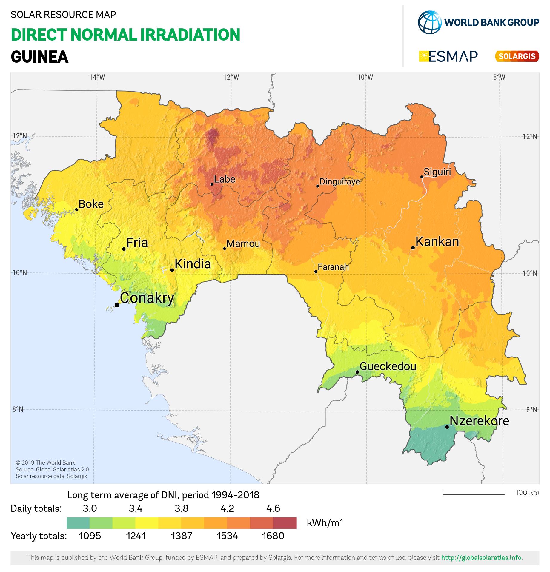 SOLARGIS_DNI Guinea_PVOUT KWH per m2