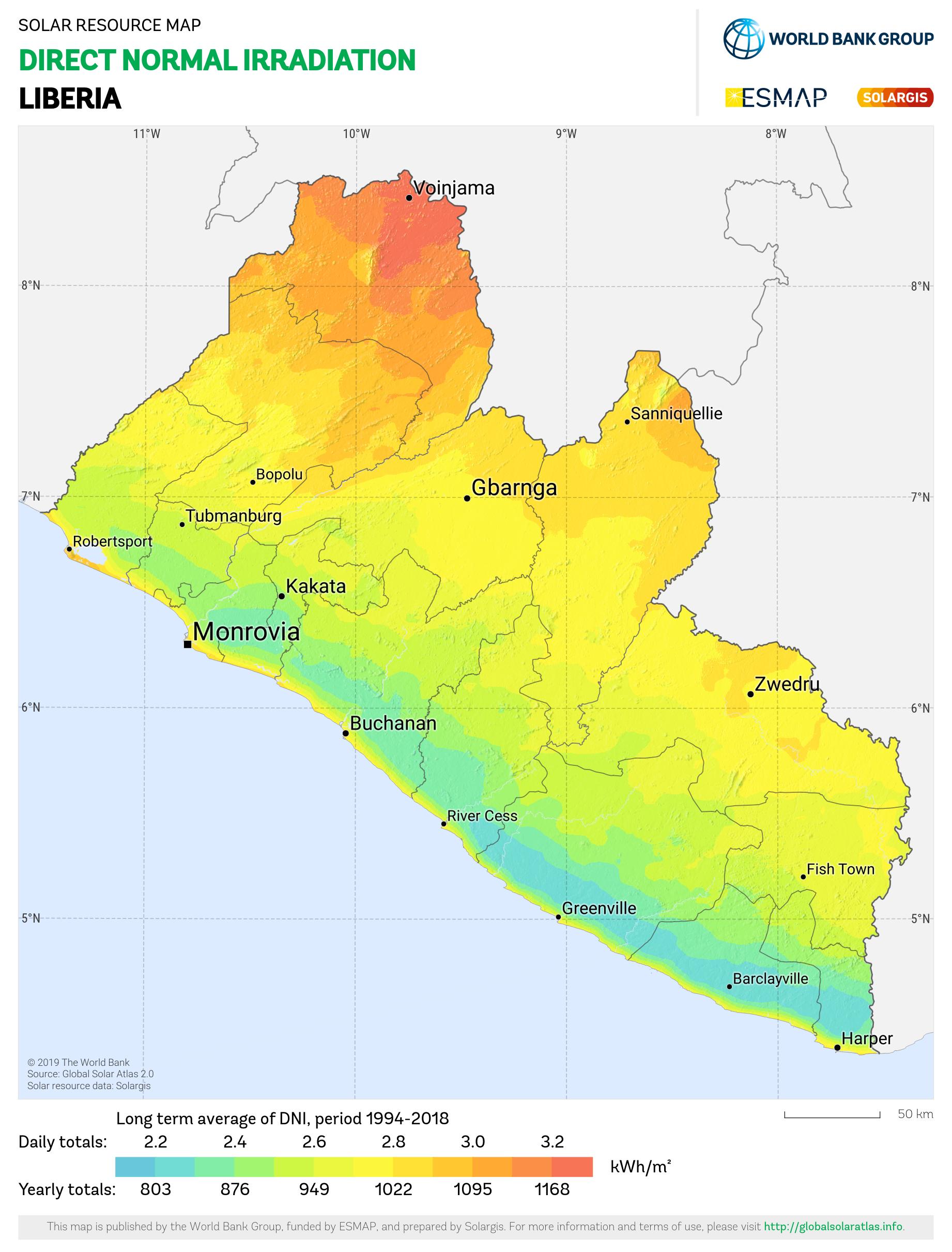 SOLARGIS_DNI Liberia_PVOUT KWH per m2