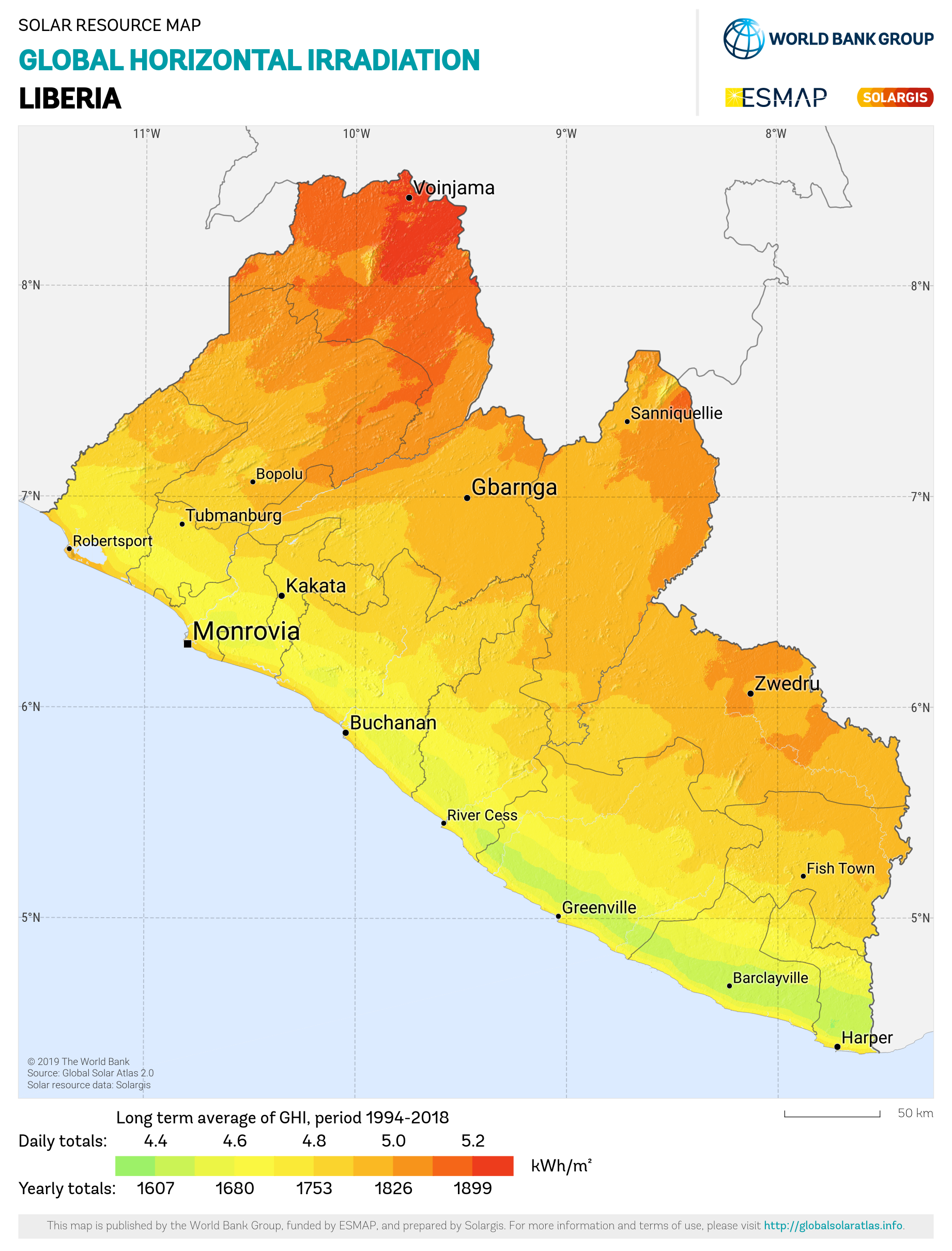 SOLARGIS_GHI Liberia_PVOUT KWH per m2
