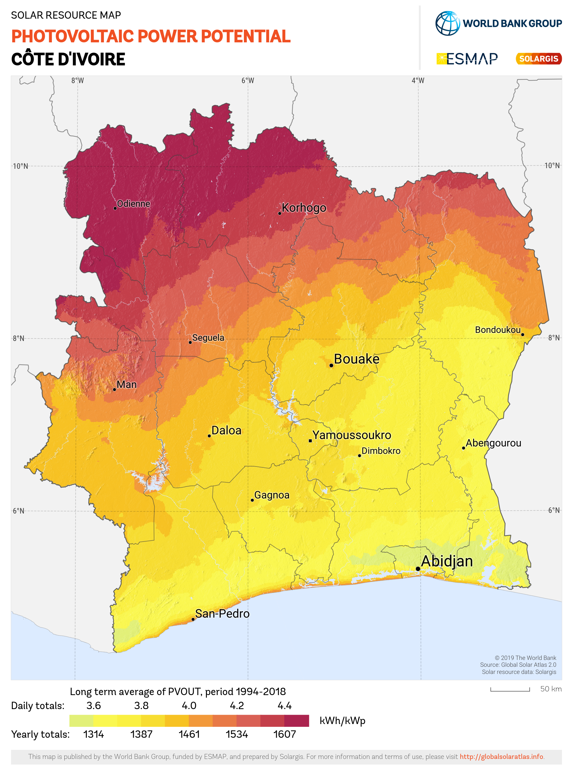 SOLARGIS_Photovoltaic Electricity Potential Cote DIvoire_PVOUT KWH per KWp