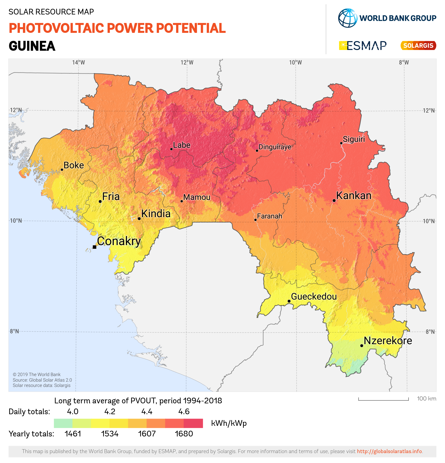 SOLARGIS_Photovoltaic Electricity Potential Guinea_PVOUT KWH per KWp