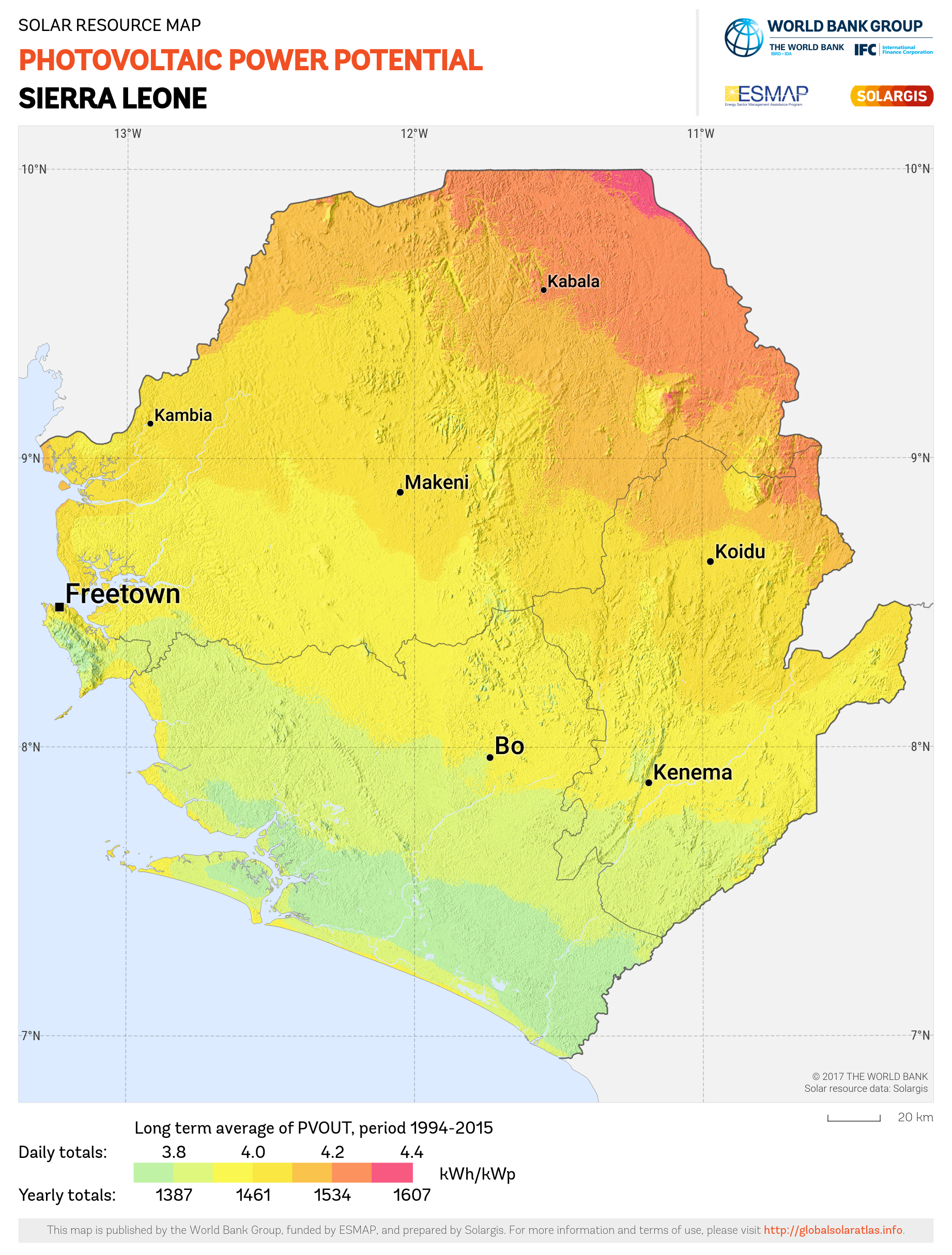 SOLARGIS_Photovoltaic Electricity Potential Sierra Leone_PVOUT KWH per KWp