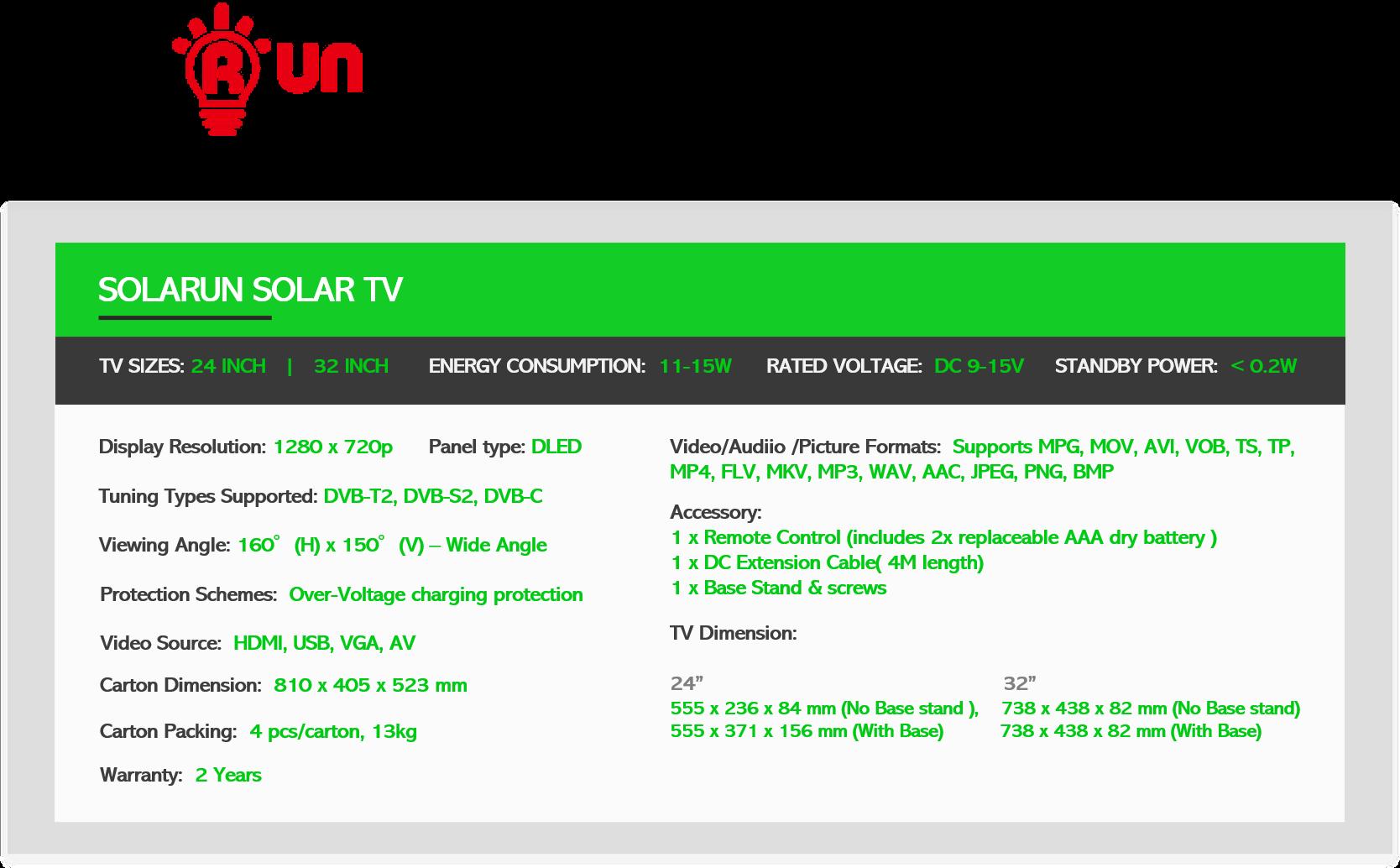 SOLARUN SOLAR TV Spec Table